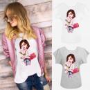 nagyker Pólók, shirt: Pamut T-Shirt , M-XL, Lady With Roses, N081
