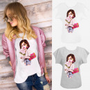 ingrosso Ingrosso Abbigliamento & Accessori: cotone T-Shirt , M-XL, Lady With Roses, N081