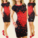 K104 SUMMER DRESS,  FULL OF HEARTS, BLACK MIX
