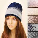 Großhandel Kopfbedeckung: FL637 Weiche, warme Mütze, Hut, zartes Muster