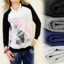 wholesale Pullover & Sweatshirts: K214 SWEATSHIRT, coton , PHOTO OVERPRINT FASHION F