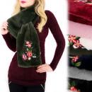 wholesale Scarves & Shawls: A1223 Fur Scarf, Warm stole, Folk Flowers