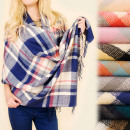 C17334-zijdig Shawl, Plaid, Plaid, Poncho, Lattice
