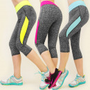 3917 Leggins 3/4 ,  FITNESS PANTS, Neon MELANGE MIX