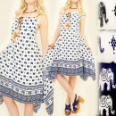 Großhandel Fashion & Accessoires: C1775 LONG KLEID,  LUSTIGE ELEFANTEN, FEDERN