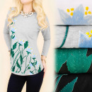 Großhandel Fashion & Accessoires: K469 Herbstbluse, Top, Blumen zeichnen