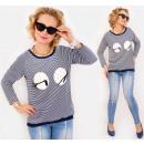 Großhandel Hemden & Blusen: BI762 lose Bluse, Hemd, Sweatshirt, gedrucktes Aug
