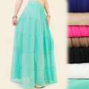 wholesale Skirts: A1911 airy maxi  skirt, decorative Waist