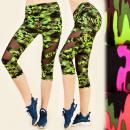 FL485 Leggings Fitness, Jogging, Camo pattern, 3/4