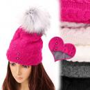 Großhandel Kopfbedeckung: FL653 Frauen mit Polkappe, Perlen und Pompon