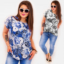 C11528 Trendy Plus Size Women Blouse, Big Roses