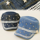 FL204 FASHIONABLE  HAT, Basecap JEANS, SILVER STARS