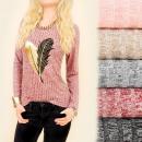 Großhandel Hemden & Blusen: C11393 Schicke Bluse, Melange, Goldene Feder