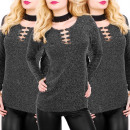 Großhandel Fashion & Accessoires: BI647 glänzende Bluse, Tunika, verziert Ausschnitt