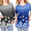 Großhandel Hemden & Blusen: C11423 Lose warme Tunika, Ombre, wunderschöne Rose