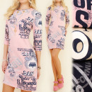 4119 LITTLE DRESS,  GAZETY PRINT, NECKLACE