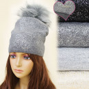 Großhandel Kopfbedeckung: FL639 Brilliant Hut, Wintermütze, Furry Pompon