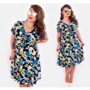 Großhandel Fashion & Accessoires: 4287 Gemusterte  Plus Size Kleid, schöner Ausschnit