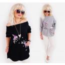 N008 Oversize  Bluse, Tunika Plus Größe, Blumen