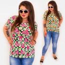 Großhandel Hemden & Blusen: C11534 Plus Size Damenbluse, voller Blumen