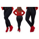 B16787 Classic Plus Size Women Pants, Dark Jeans
