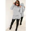 Großhandel Pullover & Sweatshirts: PL15 Langer Kapuzenpullover, Pulled, Hellgrau