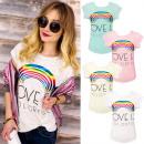 Blusa de algodón  K486, Top, camisa, Magic Rainbow