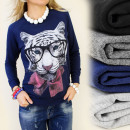 K220 BLOUSE,  coton, PRINT TIGER glasses