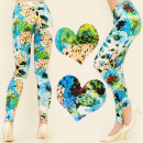 Großhandel Hosen: 4442 Leggings, bunte Hose in blauen Farbtönen