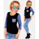 D1471 A charming sweater, jeans sleeves, golden ti