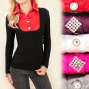 wholesale Shirts & Blouses: C17223 Phenomenal  Set, Sweater + Shirt, Jets