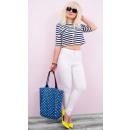 B16714 Damen Weiße Hosen Jeans, Röhren, Hohe Taill