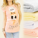 K122 COTON TOP,  BLOUSE, CATS ICE CREAM, MIX