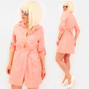 wholesale Dresses: R95 Tied Dress, Loose Tunic, Shirt Style, Peach