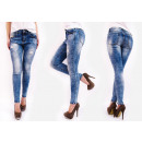 B16723 Steamed Jeans, Tubes, Fashionable Holes