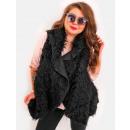 wholesale Coats & Jackets: EM39 Fur Vest Poncho Winter Jacket Black