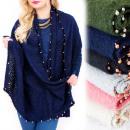 grossiste Coussins & Couvertures: B16605 Grand  châle, couverture , XXL, perles dorée