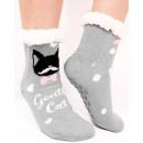 Großhandel Scherzartikel: 4370 Pelz Socken, ABS Hausschuhe, lustige Katzen