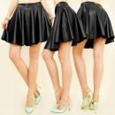 wholesale Skirts: C11262 Flared Mini  Skirt, Shiny Eco Leather