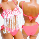 wholesale Swimwear: 4610 Women Swimsuit, Fringes, Neon Pink