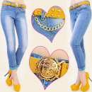 wholesale Jeanswear: B16463 glamorous  JEANS, WITH BELT IN SET