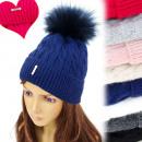 wholesale Headgear: FL656 Padded  Fleece Women's Cap, Large Pompon