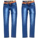 grossiste Vetement et accessoires: Pantalon fille, avec décoration et ceinture, 4-14,