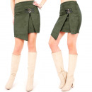 C24226 Made in  Poland, Suede Skirt, Olive