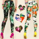 4489 Patterned Women Leggins in Colorful Flowers