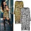 wholesale Fashion & Apparel: AW034 Gold Dress, Pencil Line, Tassels
