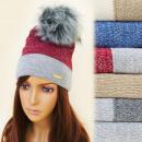 Großhandel Kopfbedeckung: FL643 Warme Mütze, Nizza Gloss, Furry Pompon
