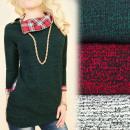 Großhandel Hemden & Blusen: BI614 Tunika Bluse, Mega Kragen, Gold Slider