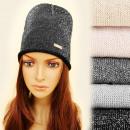hurtownia Fashion & Moda: 4165 Luźna Czapka Typu Worek, Srebrna Nitka