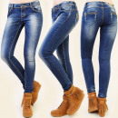 grossiste Vetements en jean: B16448 PANTALON JEANS, BOUCLES DE MODE, COULISSANT